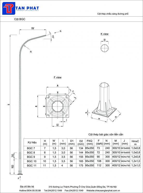 Cột đèn cao áp tròn côn liền cần