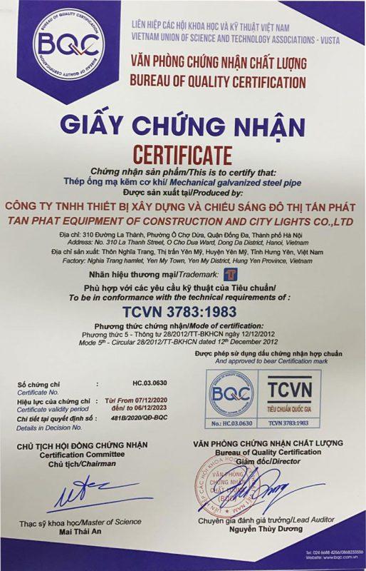Giấy chứng nhận ống thép, thép hộp mã kẽm đạt chuẩn TCVN 3783:1983