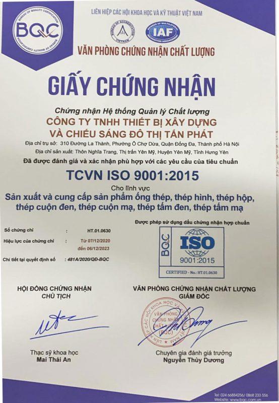 Giấy chứng nhận ống thép, thép hộp mã kẽm đạt chuẩn TCVN ISO 9001:2015